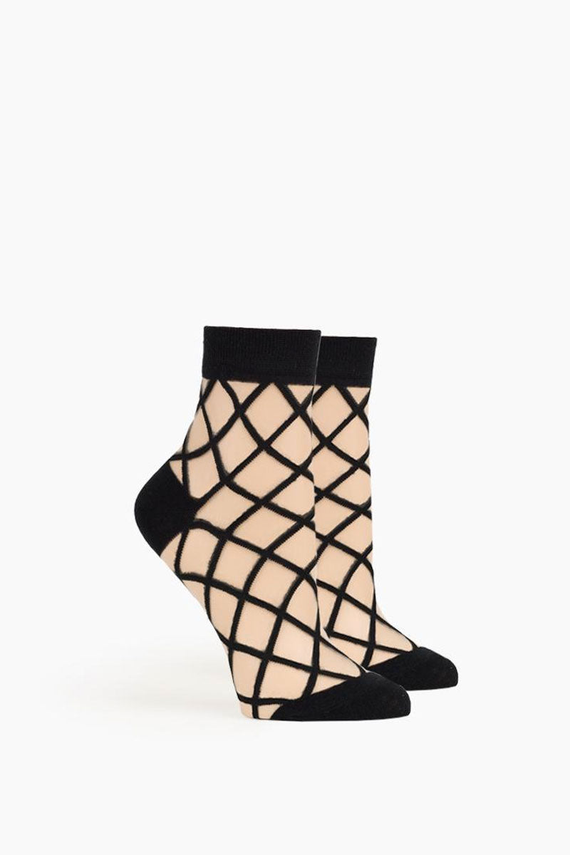 Bailee Ankle Socks - Black Geometric Print