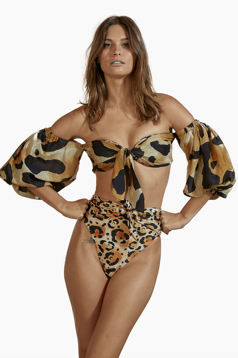878df5d570 AGUA DE COCO Bandeau Off The Shoulders Long Sleeves Bikini Top - Jaguar  Print - undefined ...