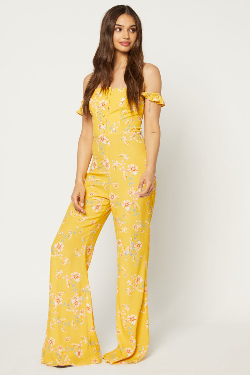 Bardot Ruffle Off Shoulder Jumpsuit - Touch Of Honey Floral Print