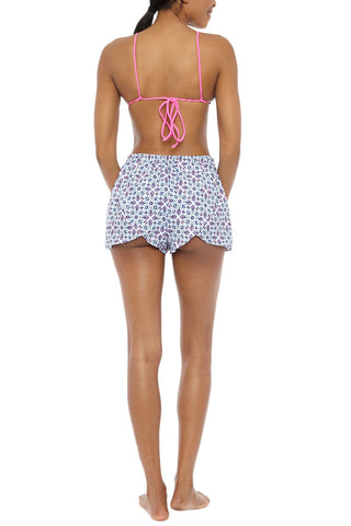 BASTA SURF Baja Shorts Cover Up | Zinnia Blue Print| Basta Surf Baja Shorts