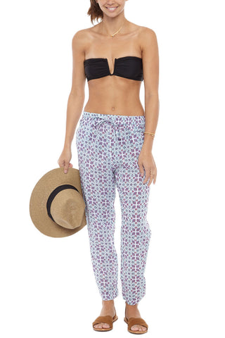 BASTA SURF Hamoa Pants Cover Up | Zinnia Blue Print|Basta Surf Hamoa Pants