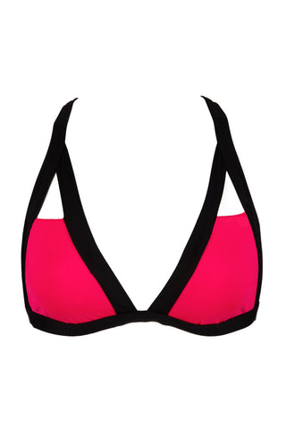 BEACH JOY Block Triangle Top Bikini Top | Neon Coral|