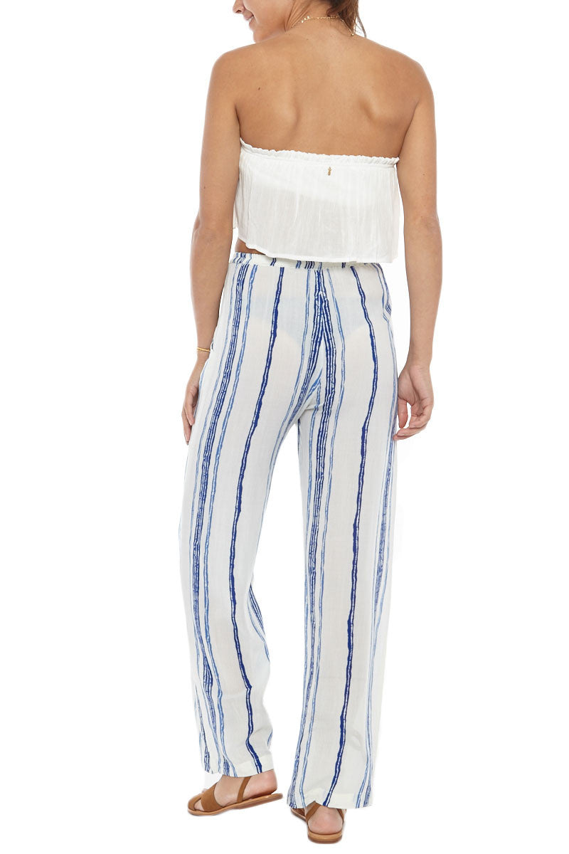 Drift High Waist Pants - Capri Blue & White Stripe Print