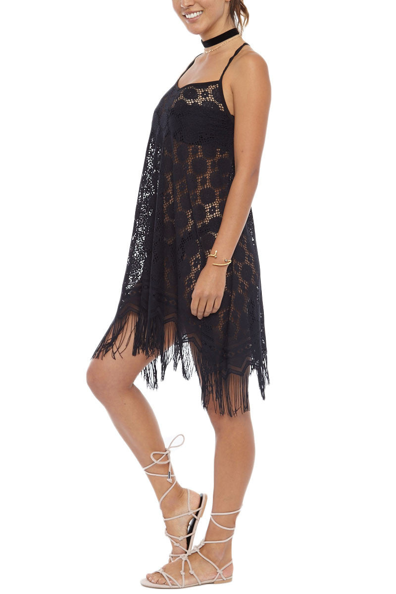 Strappy Fringe Lace Cover-Up Mini Dress - Black