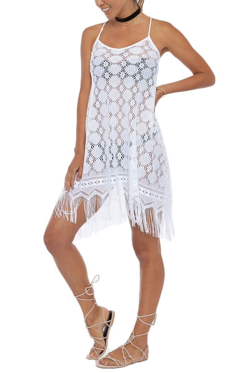 Strappy Fringe Lace Cover-Up Mini Dress - Ivory White