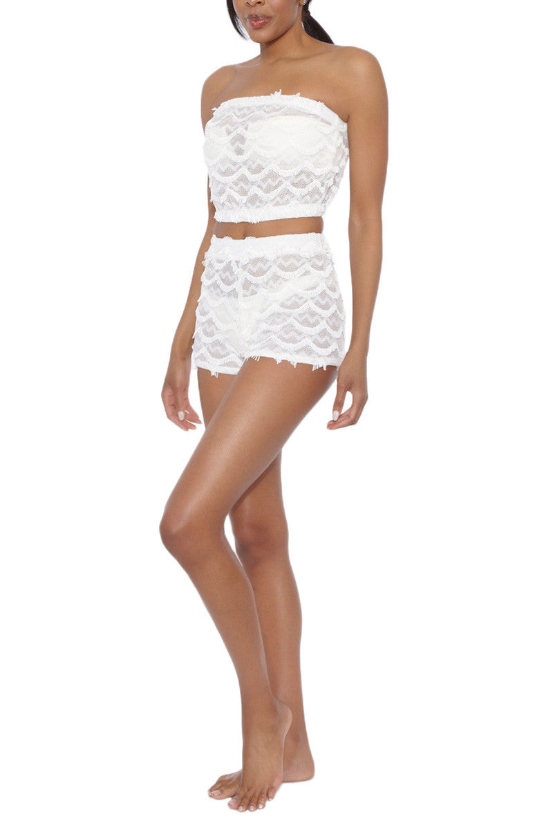 BEACH HABITAT Bandeau Top Cover Up | Ivory| Beach Habitat Bandeau Top