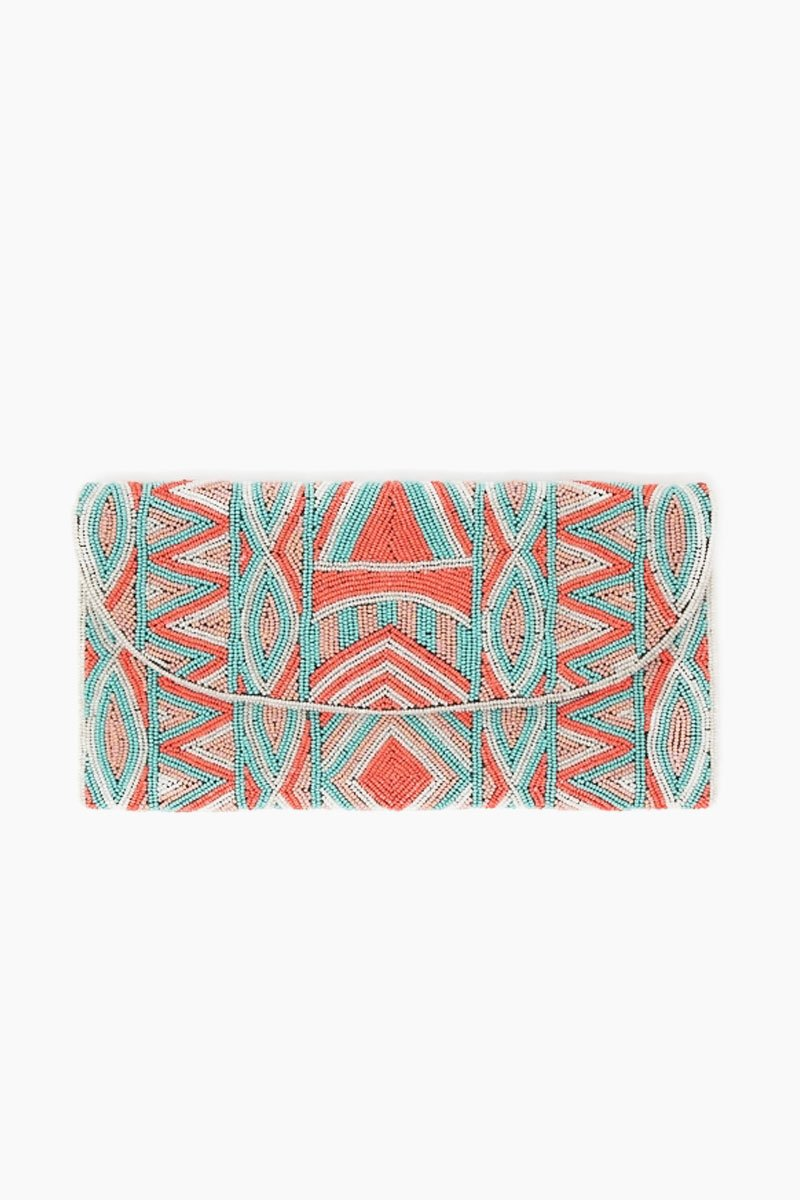 Becka Clutch - Coral/Sea Green