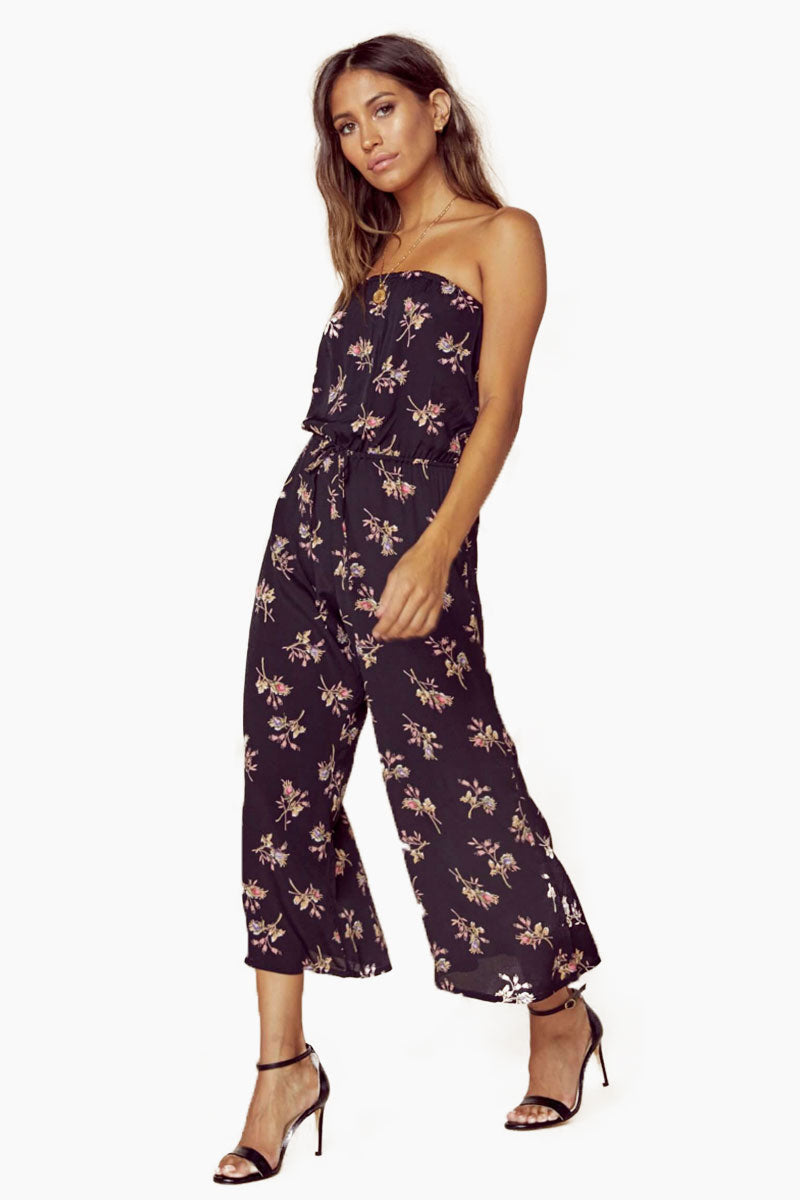 Bell Strapless Flowy Jumpsuit - Nightfall Bouquet Floral Print