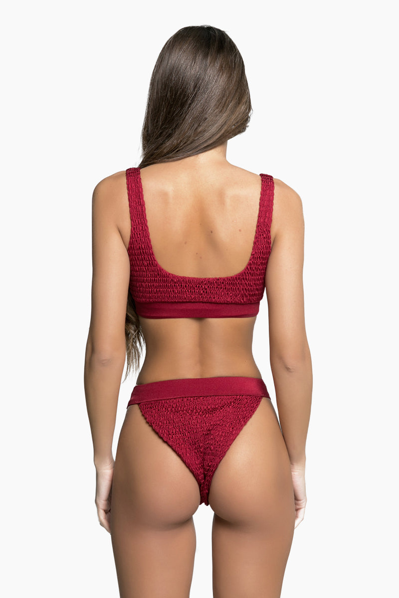 Bella Smocked High Cut Cheeky Bikini Bottom - Burgundy Red