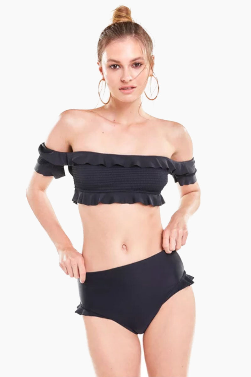 Bella Off Shoulder Ruffle Bikini Top - Black