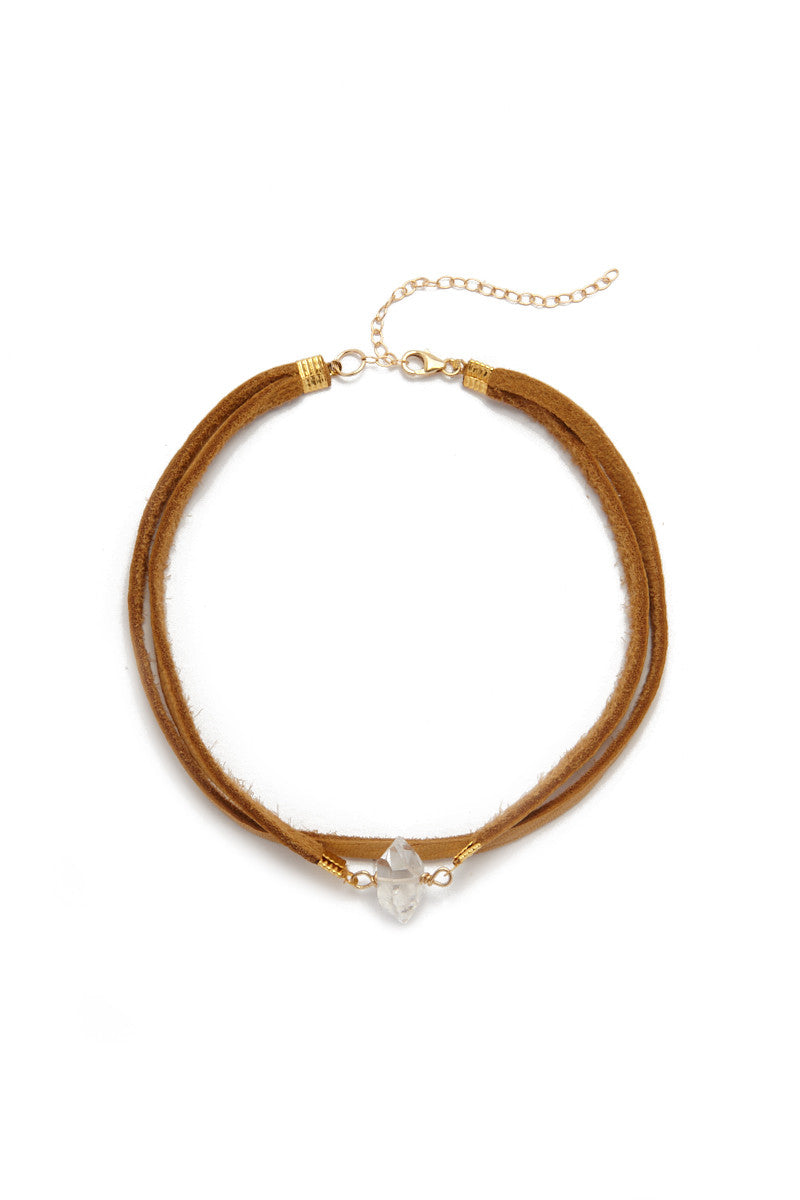 Bella Suede Layered Choker - Brown/Quartz