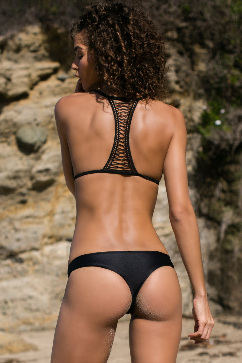 BETTINIS Black T Back Triangle Top Bikini Top | Black|Rachel