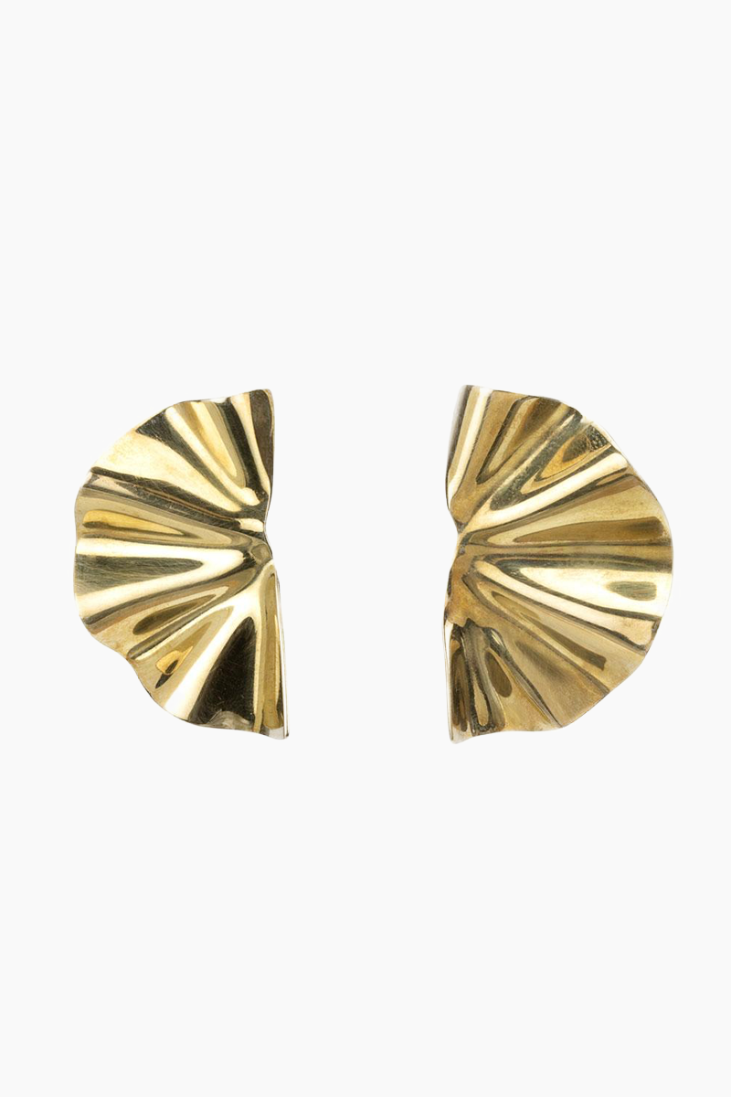 Bidu Fanned Stud Earrings - Brass