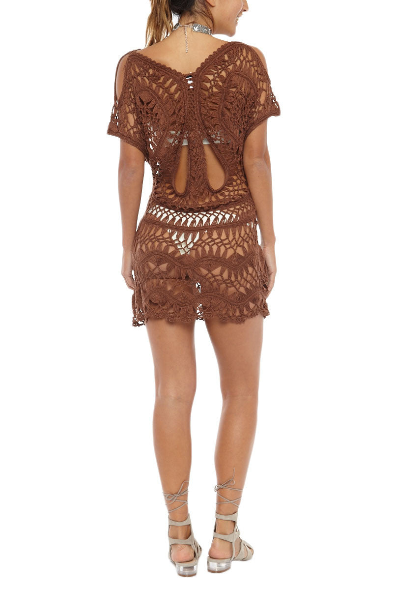cb21512f331 COM Crochet Cover Up Dress - Espresso - undefined undefined