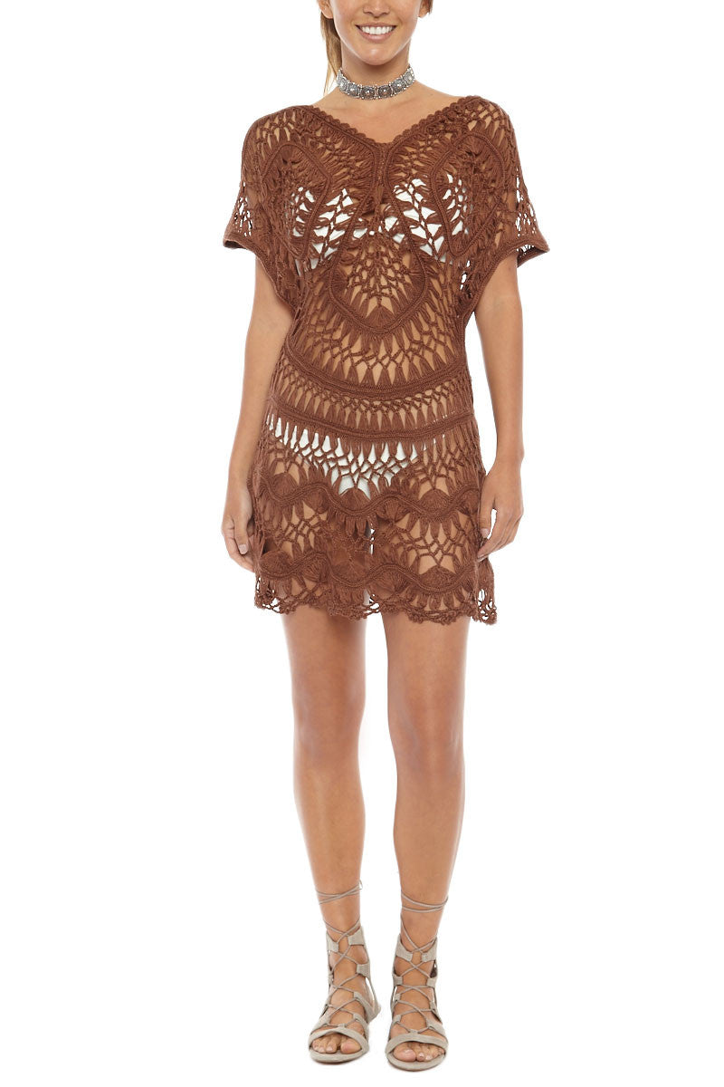 Crochet Cover Up Dress - Espresso