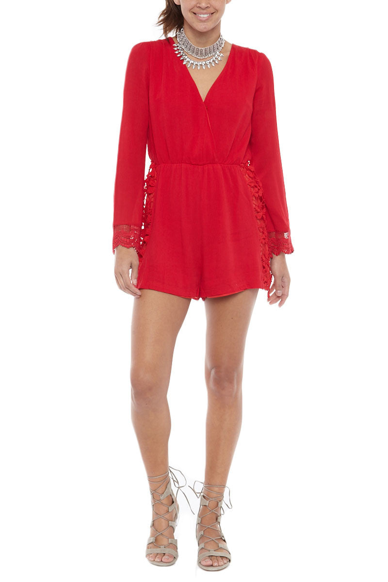 BIKINI.COM Lace Romper Cover Up | Red|Bikini.com Lace Romper