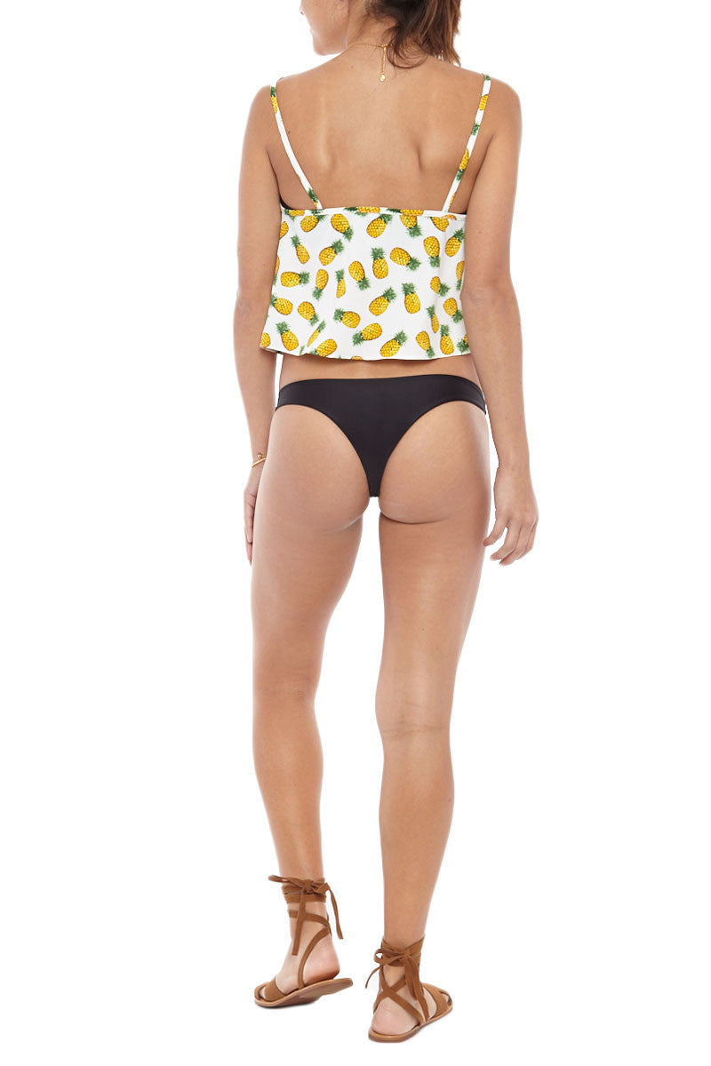 BIKINI.COM Pineapple Crop Top Cover Up | White/Pineapple|Bikini.com Pineapple Crop Top