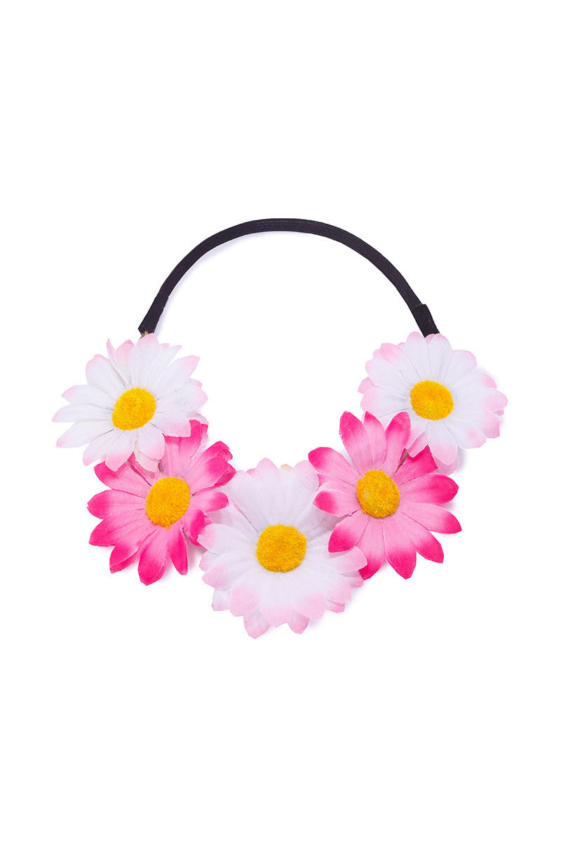 BIKINI.COM Light Pink & Hot Pink Daisy Floral Crown Accessories | Light Pink / Hot Pink|