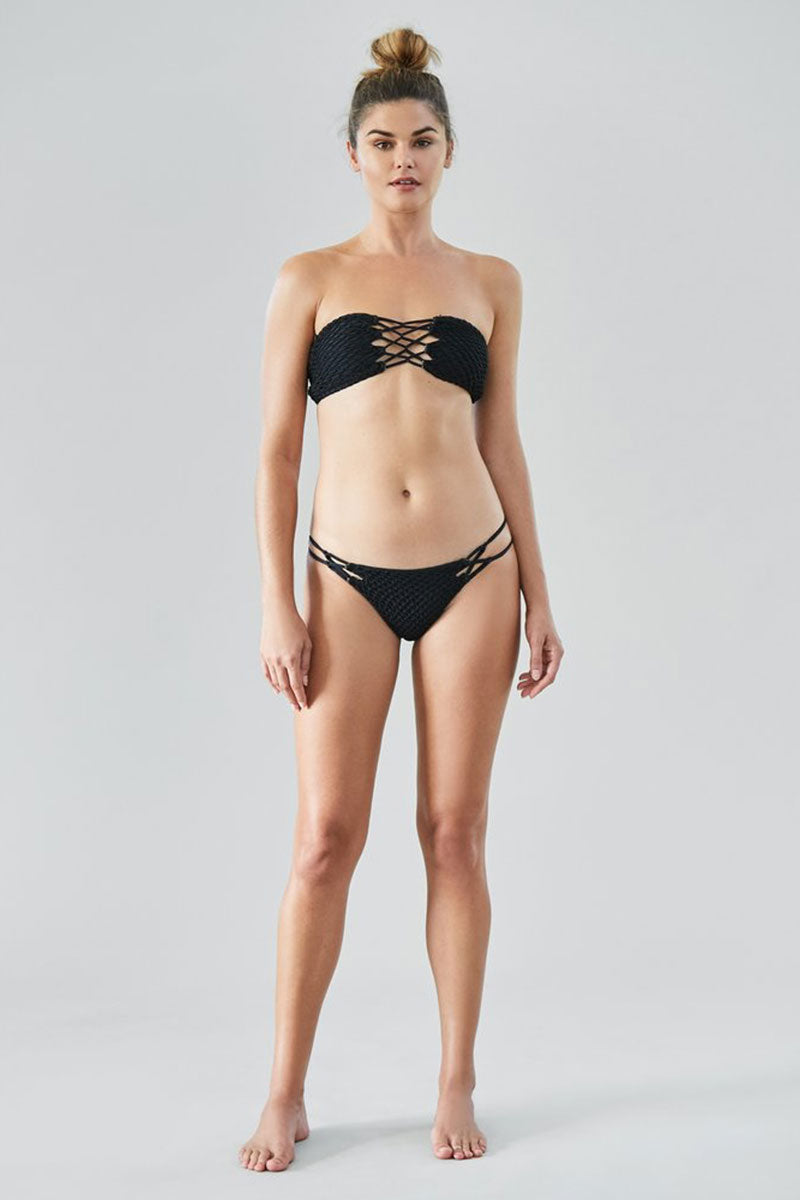Como Crochet Lace Up Bandeau Bikini Top - Black Beauty