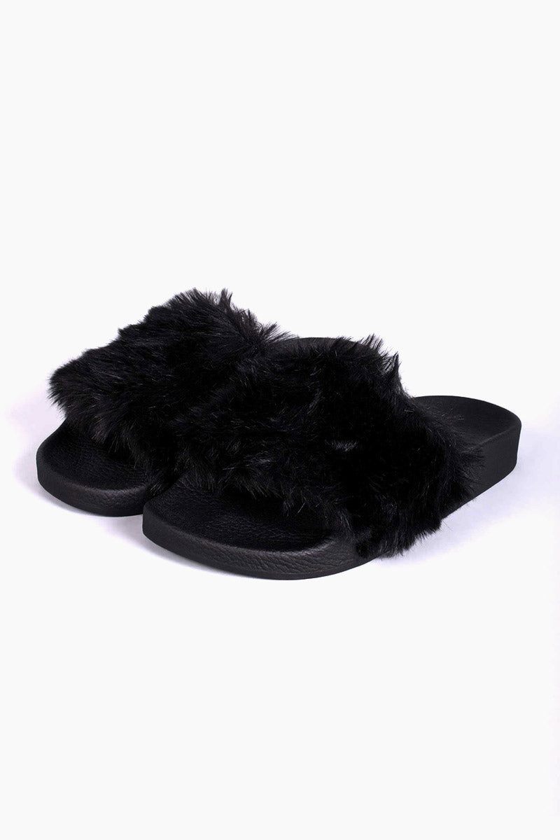 Black Fur Side Black Fur Slides 8211 Black