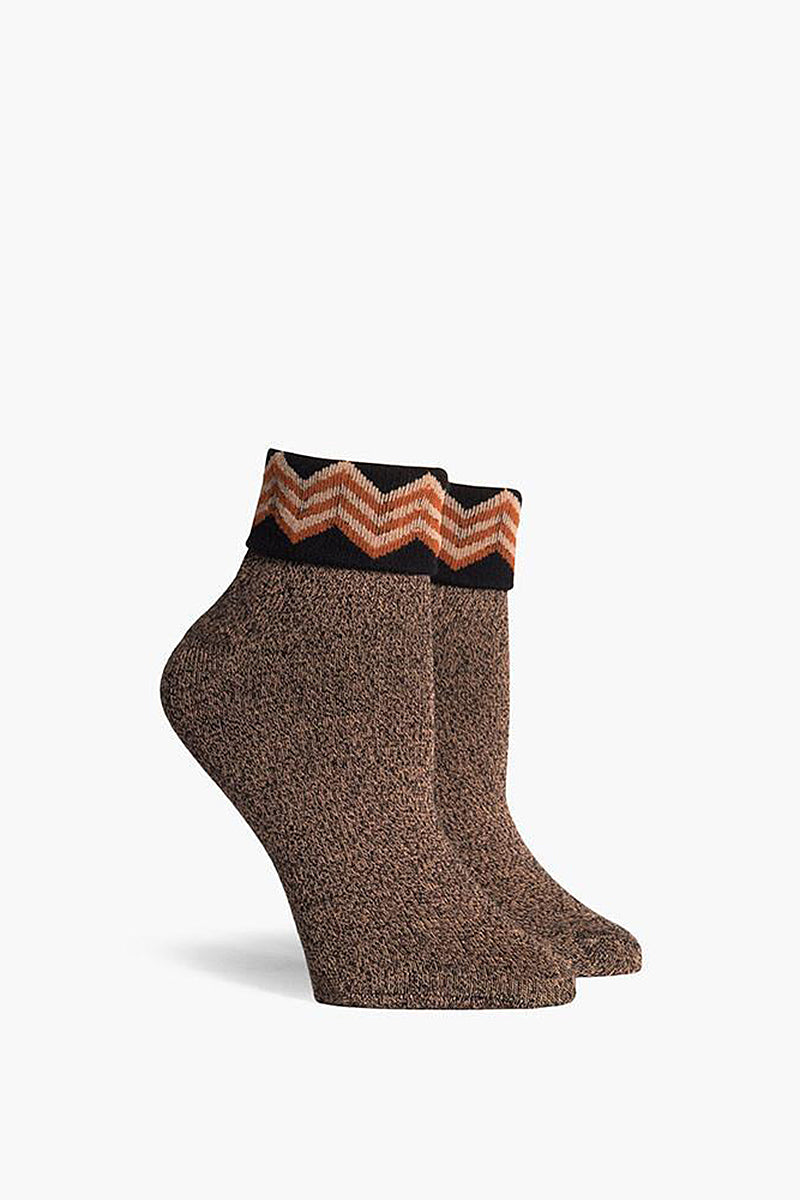 Arietty Fold Top Ankle Socks- Black & Rust Orange