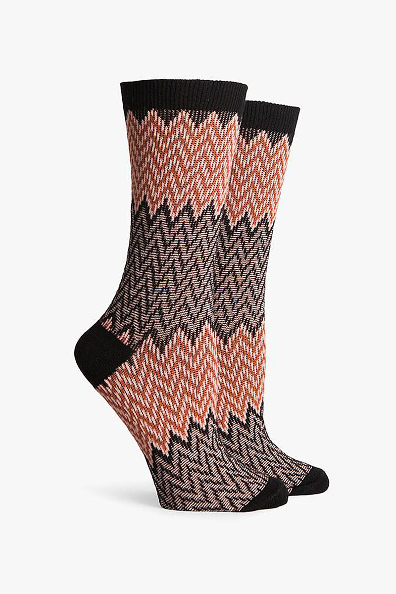Current DC Crew Socks - Black & Orange Chevron Print