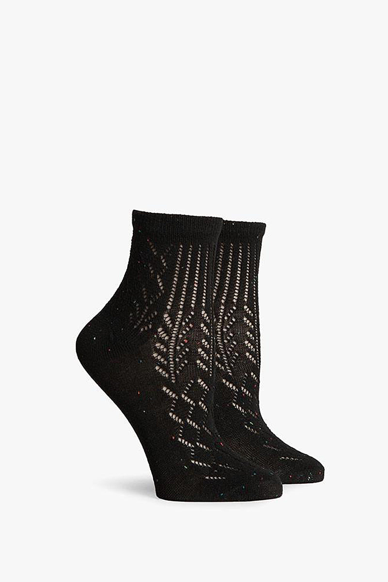 RICHER POORER Black Margot Ankle Accessories | Black| Richer Poorer Black Margot Ankle Lightweight Ankle Socks Lace Cut Outs Combed Cotton Fabrication Deep Heel Pocket Y-Stitch Detail
