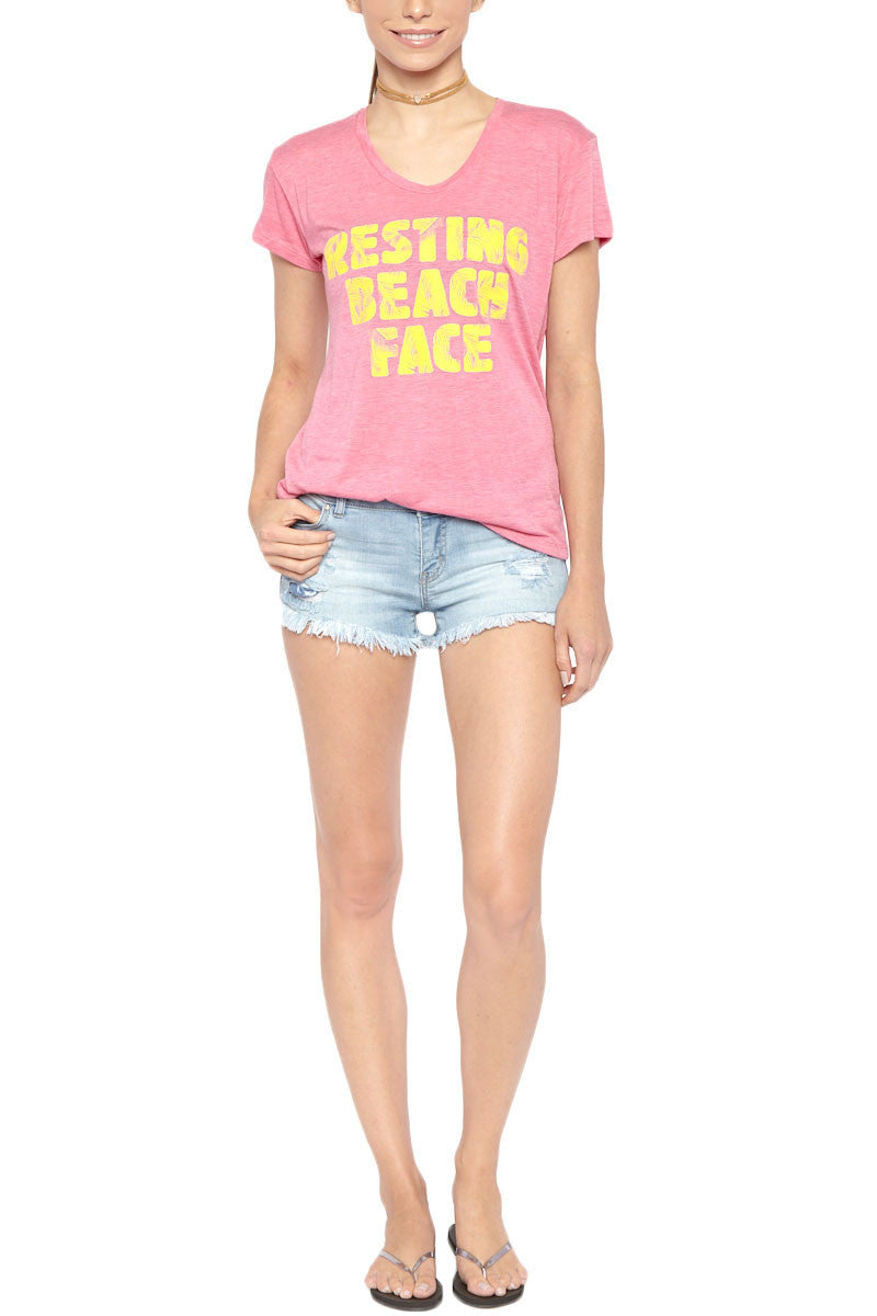 Resting Beach Face Short Sleeve T-Shirt - Pink