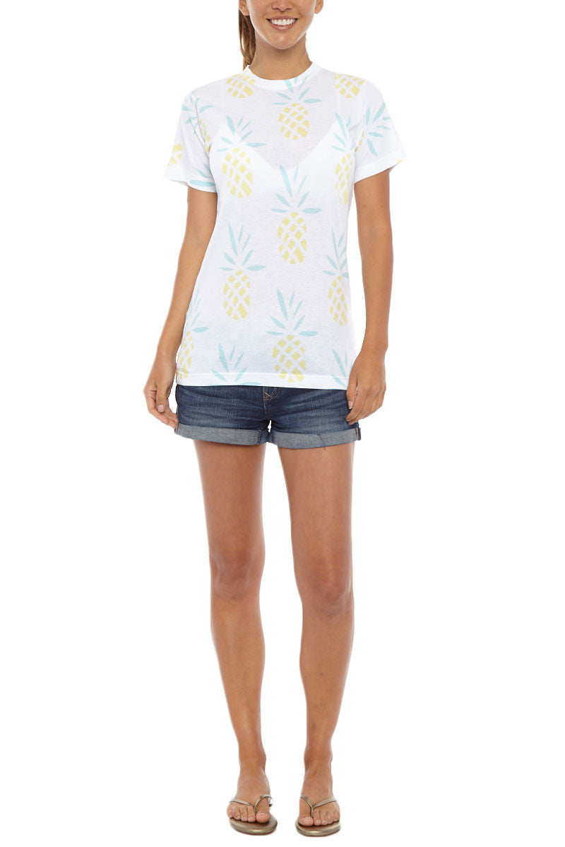 Pineapple Short Sleeve T-Shirt - Yellow & White