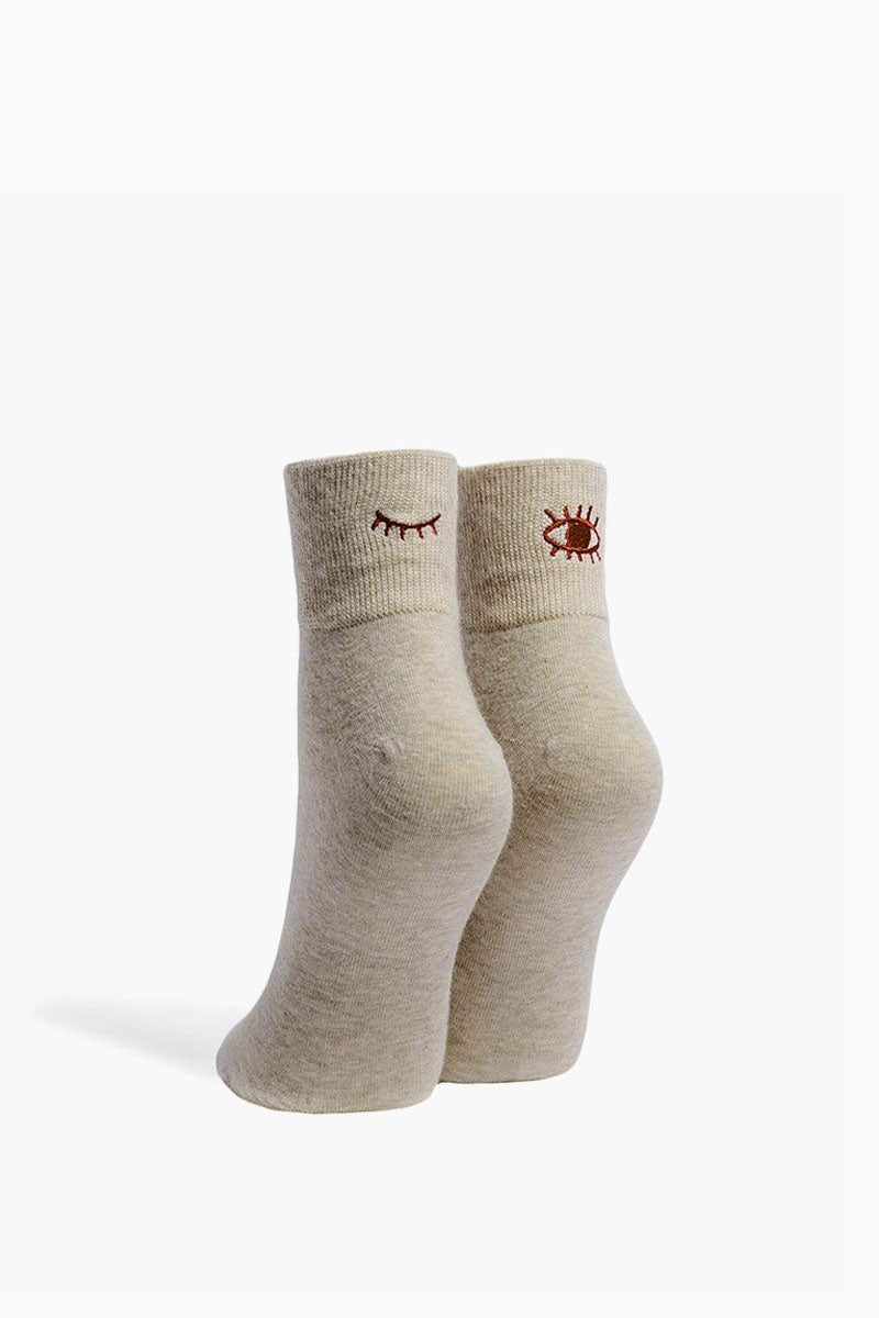 Blink Rib Top Ankle Socks - Oatmeal