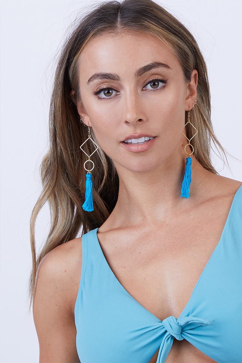 Blue Geometrical Tassel Earrings