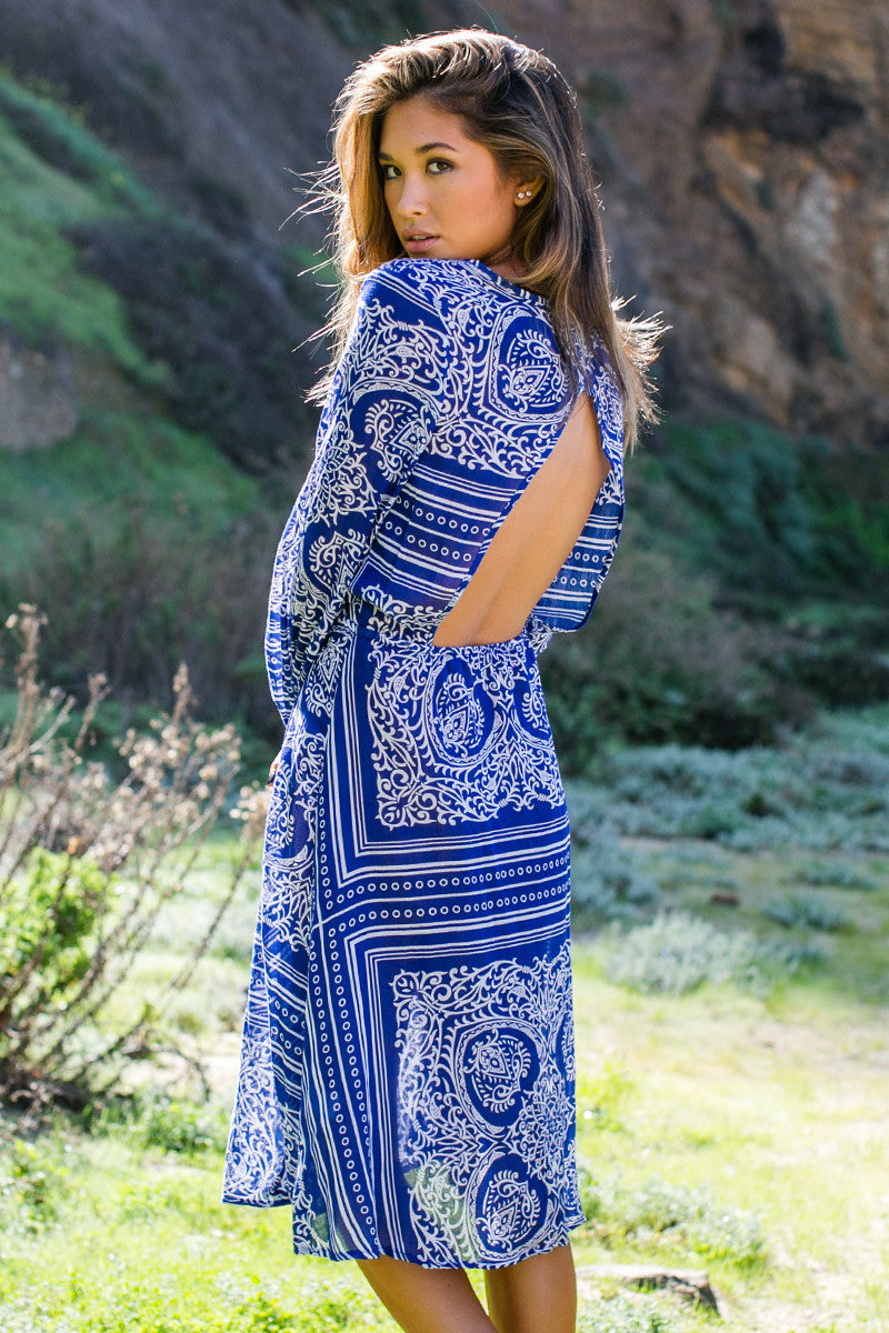 BLUE LIFE Caribbean Night Dress Cover Up | Indigo Scarf Print|