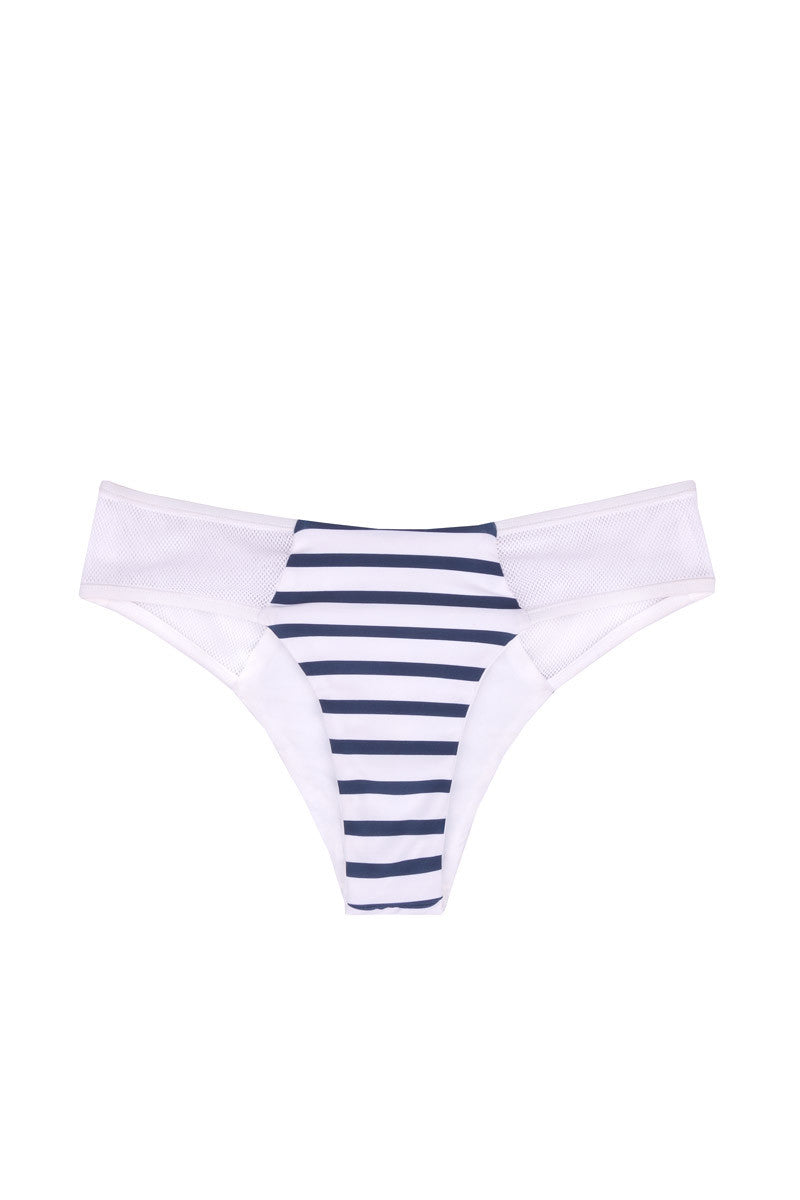 Portofino Mesh Cheeky Bikini Bottom - Blue & White Stripes Print