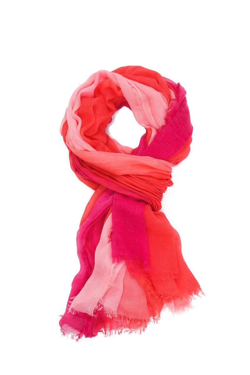 Cashmere Silk Sarong - Coral Pink Ombre Print