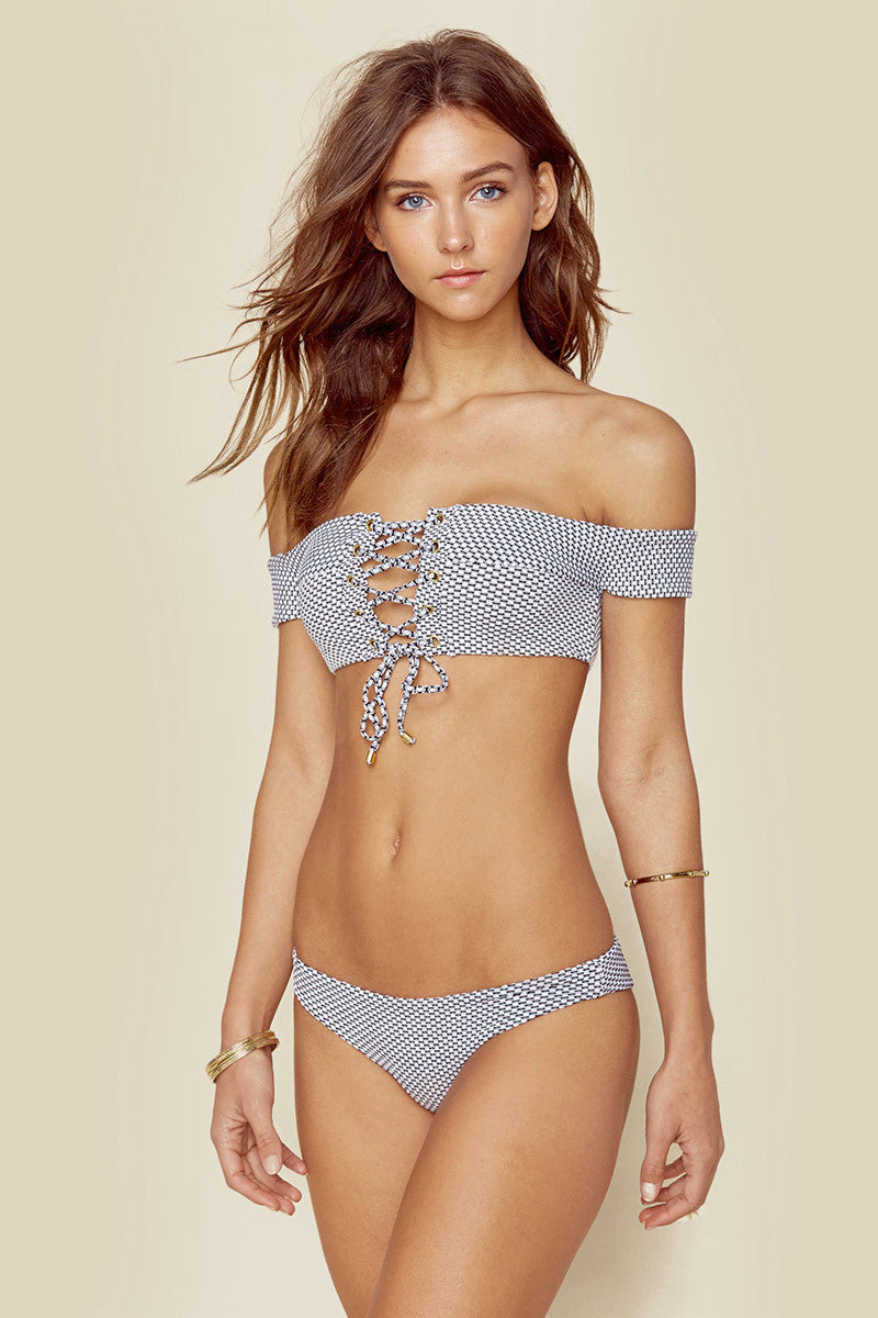 BLUE LIFE Island Fever Skimpy Bottom Bikini Bottom | Seersucker| Blue Life Island Fever Skimpy Bottom