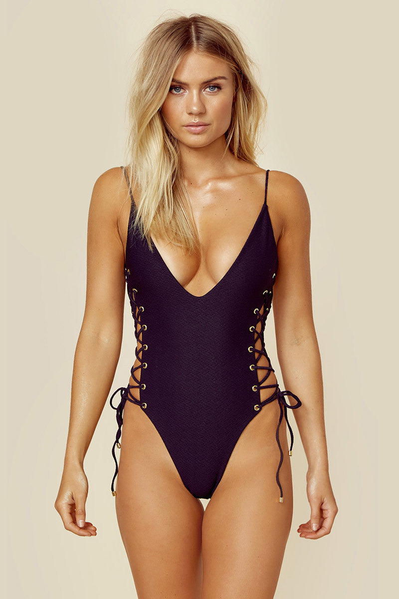 BLUE LIFE Roped Up One Piece - Black One Piece | Black| Blue Life Roped One Piece Black deep plunge neckline one piece with adjustable spaghetti straps and lace up sides. Cheeky coverage and low scoop back.