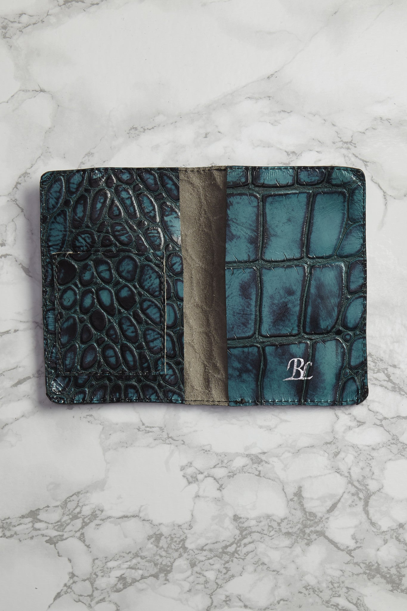 BLYTHE LEONARD Aqua Croc Passport Cover Accessories | Aqua Blue| Blythe Leonard Aqua Croc Passport Cover