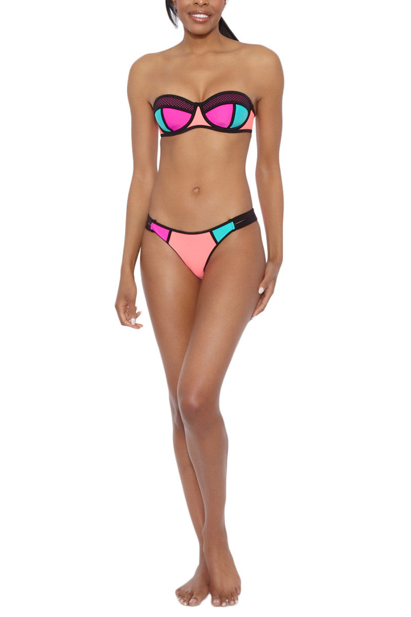 Fame Color Block Underwire Bandeau Bikini Top - Magenta Pink/Teal Blue/Coral Pink