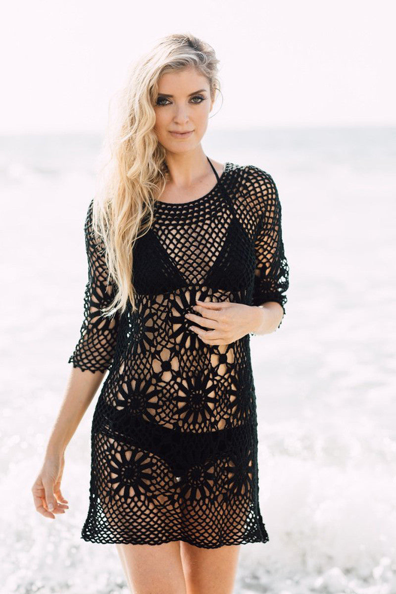 J. VALDI Boho Crochet Tunic Cover Up | Black|