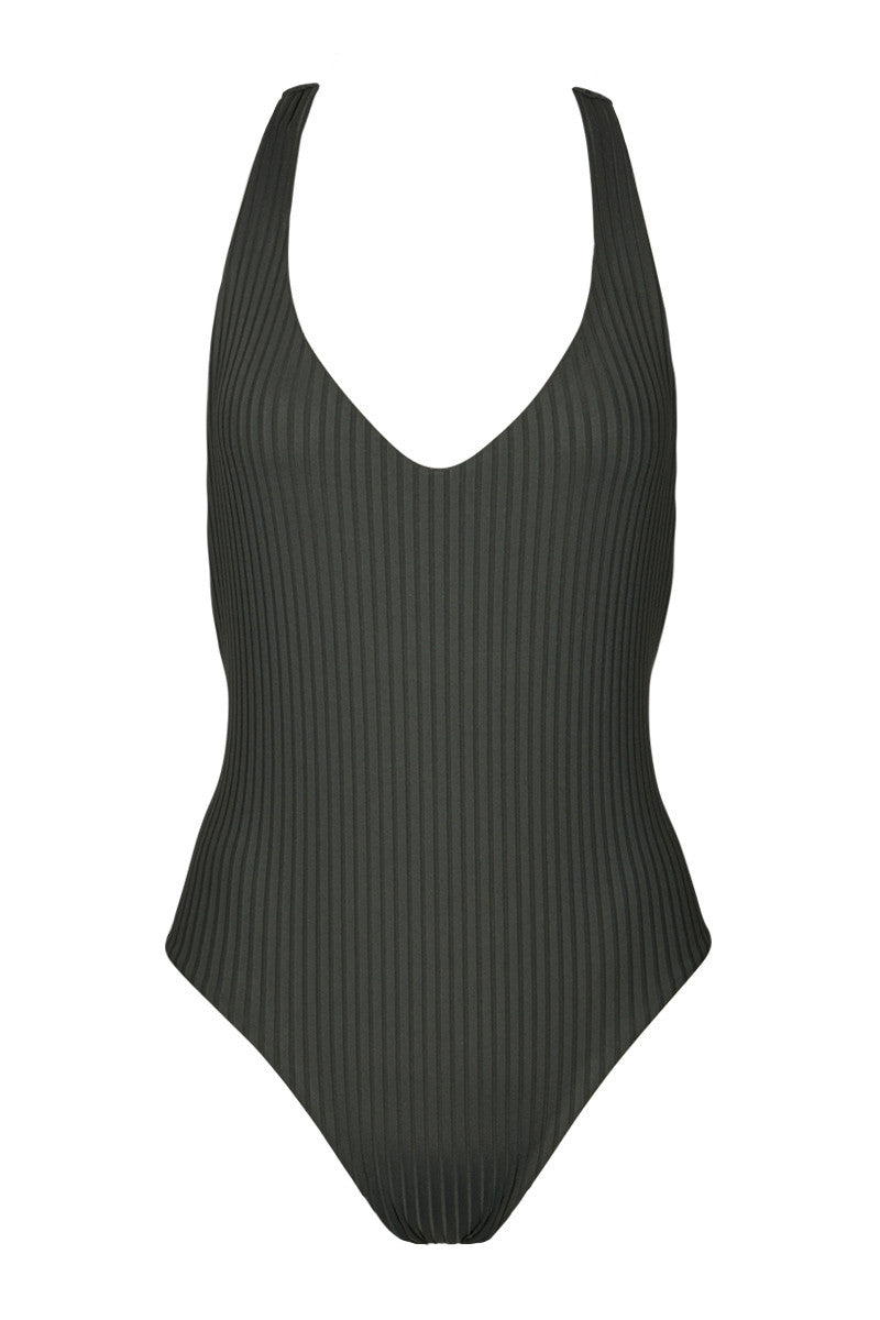 Bad News Beck Ribbed T Back One Piece Swimsuit - Iron Grey