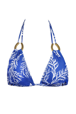 ENVYA Branch Top Bikini Top | Royal Blue Print|