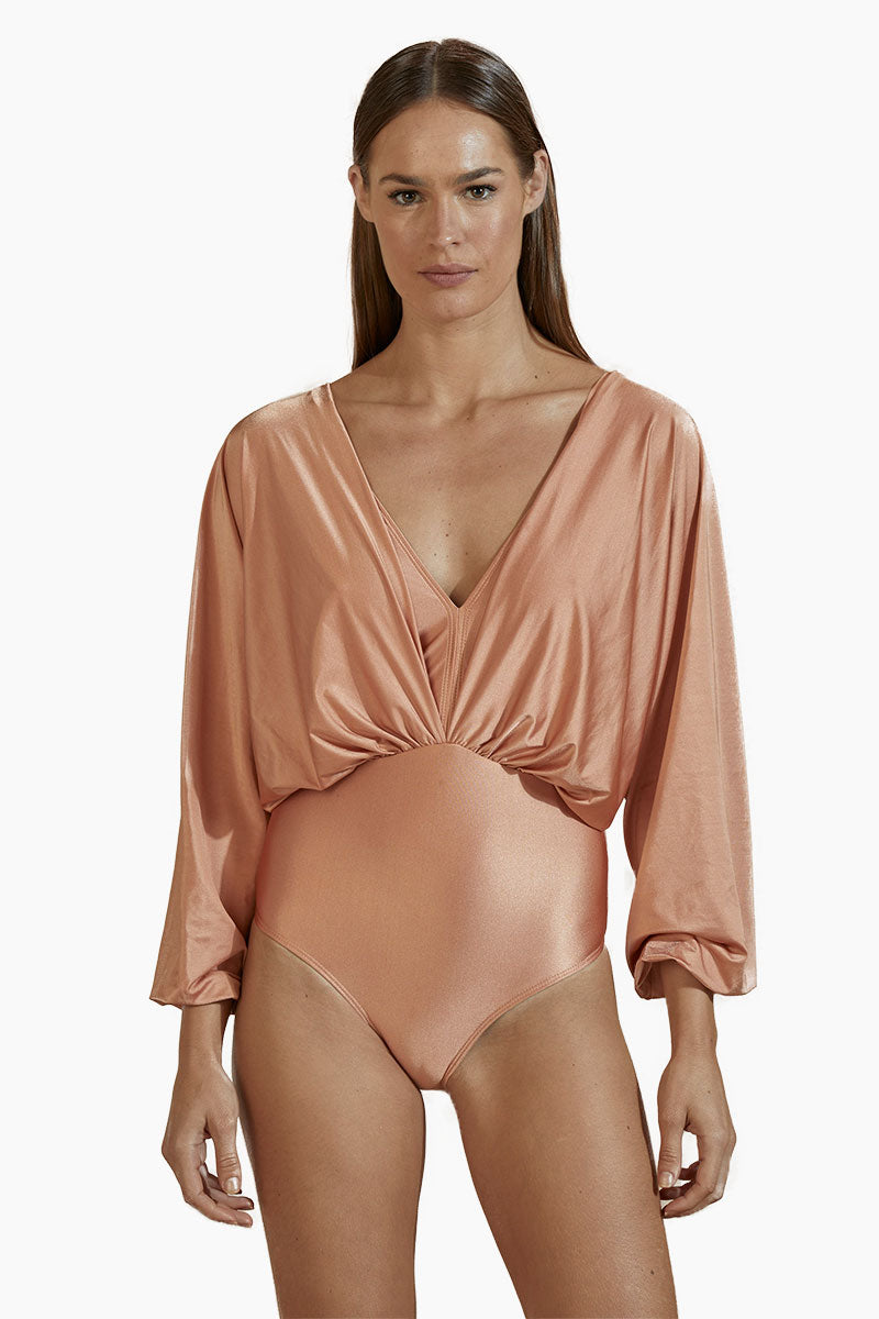 Brazilian Long Sleeves One Piece Swimsuit - Rose Pink