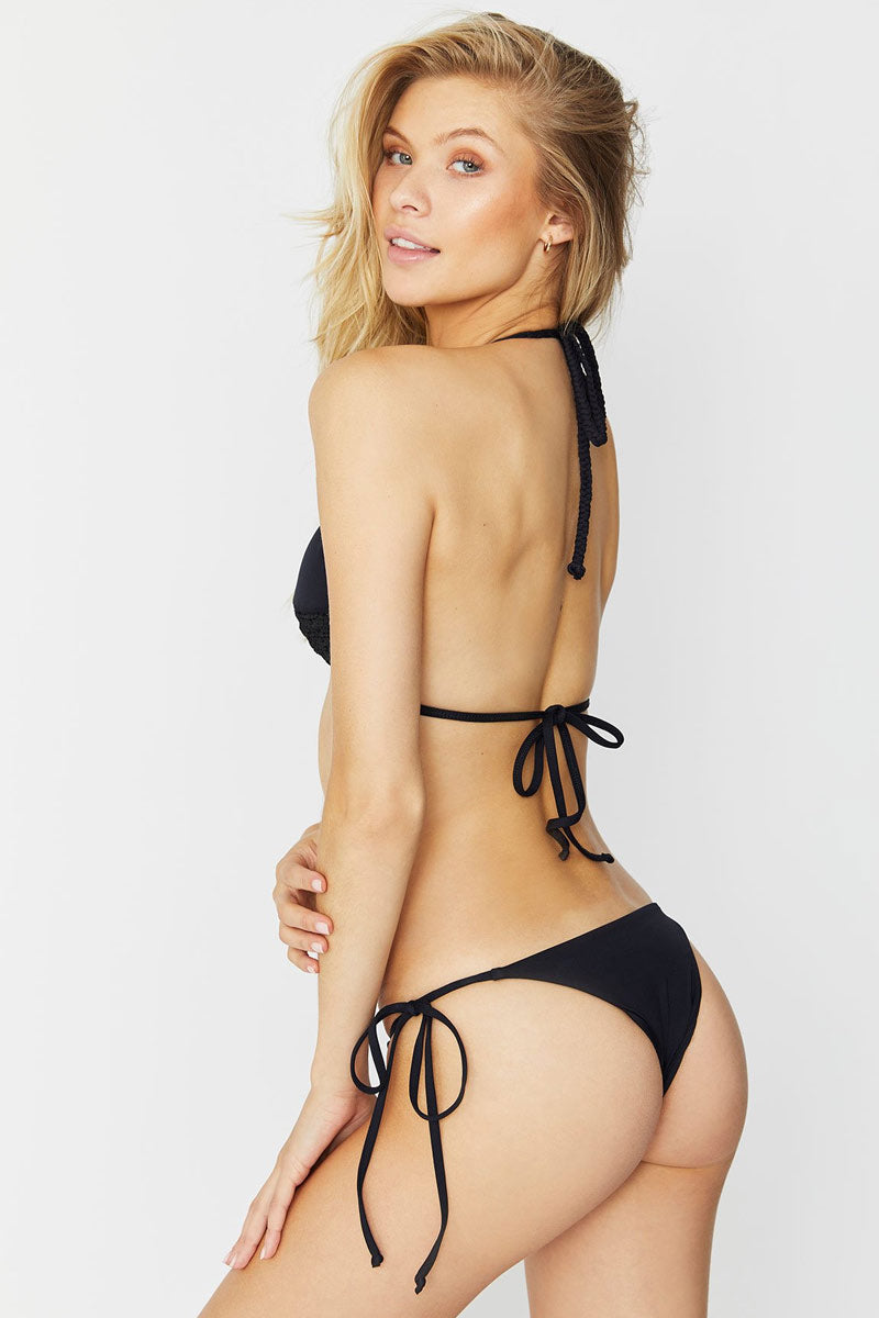 Brie Low Rise Tie Side Bikini Bottom - Black