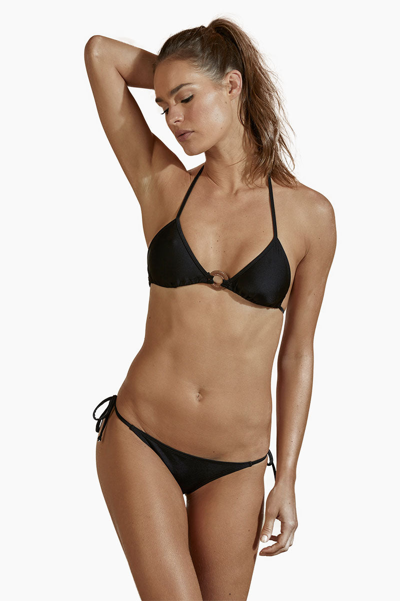 ac4a4bd168 AGUA DE COCO Triangle Center Ring Bikini Top - Black - undefined undefined  ...