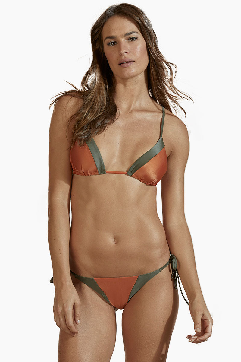 Tie Side Color Block Bikini Bottom - Rust Orange/Olive Green