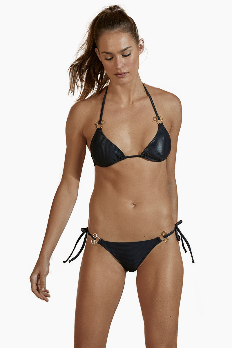 Tie Side Metal Bikini Bottom - Black
