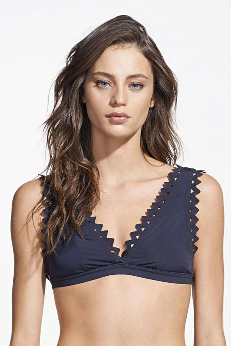 Carly Scalloped Triangle Bikini Top - Black