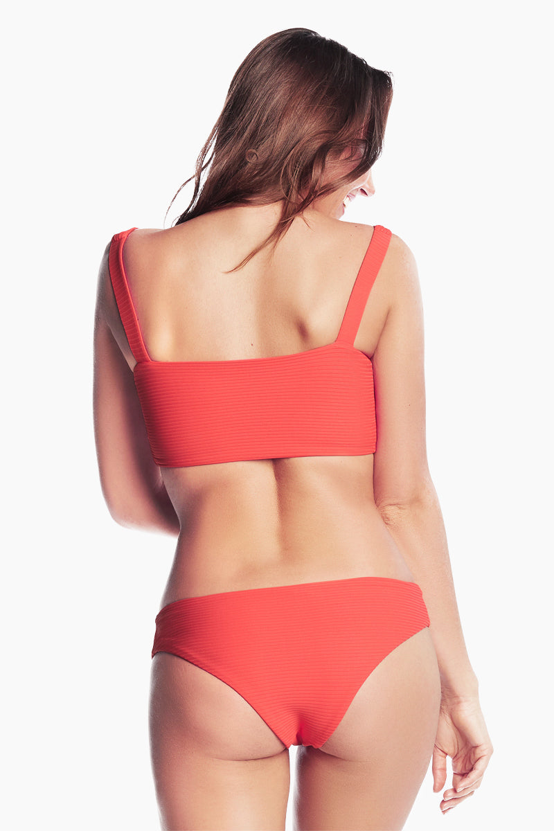 Sublime Reversible Moderate Bikini Bottom - Cayenne Red/Cayenne Red Tropical Print
