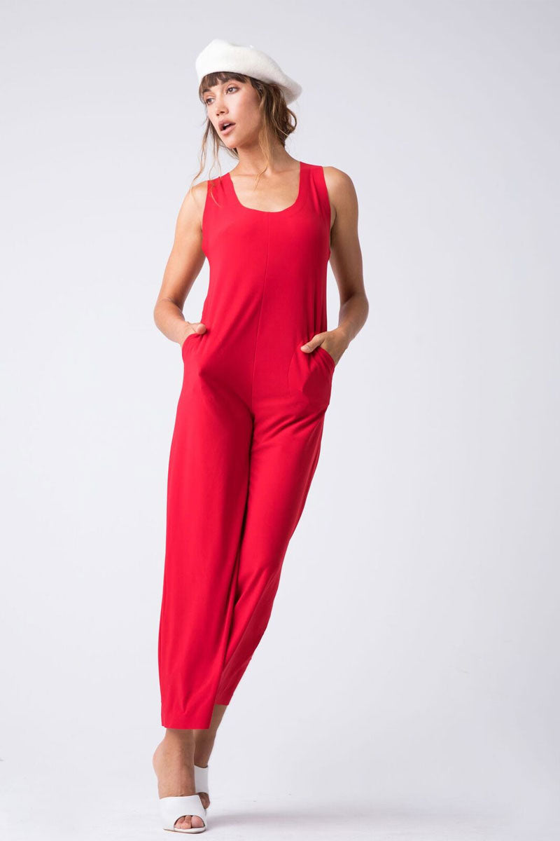 Cross Back Cropped Jumpsuit - Tango Red