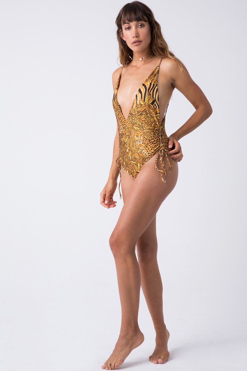 Playground Cinched Tie Side One Piece Swimsuit - Safari Gold Animal Print